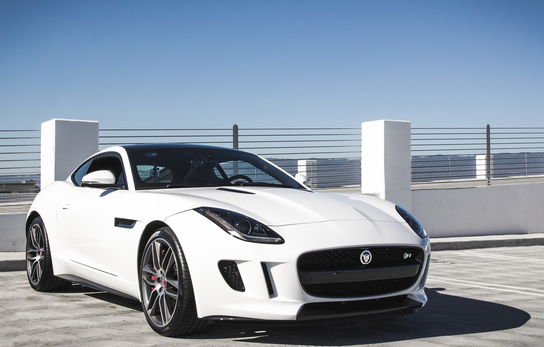 Photo wallpaper white, jaguar, coupe, f-type