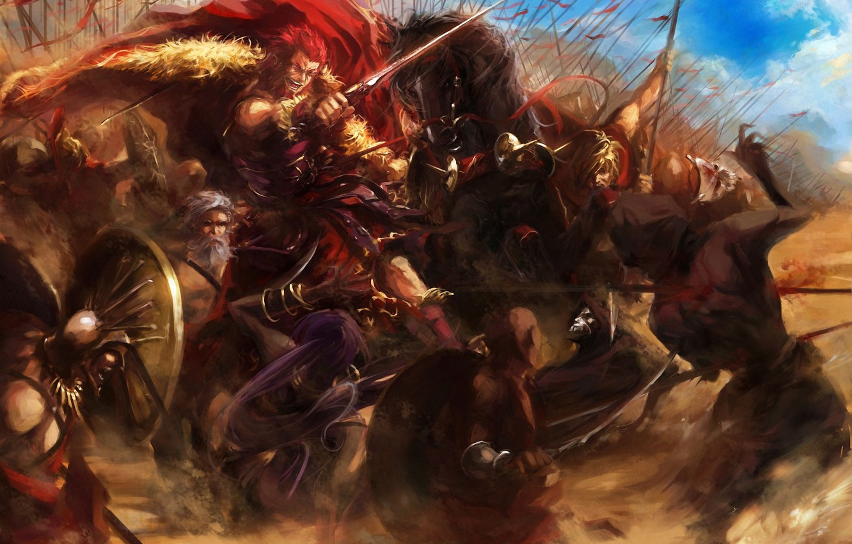 Photo wallpaper weapons, horses, sword, war, art, battle, shield, cloak, fate stay night, peaks, rider, spears, assassin, …