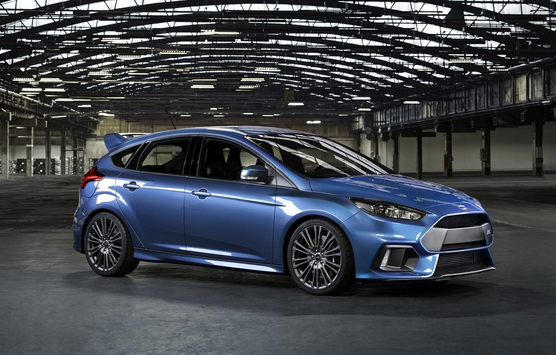 Photo wallpaper photo, Ford, Blue, Car, Side, 2015, Metallic, Focus RS