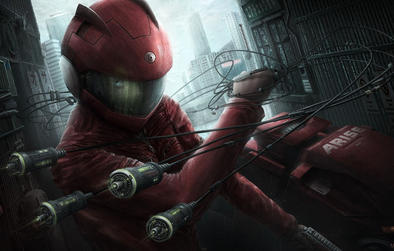 Photo wallpaper girl, the city, weapons, wire, art, helmet, Ghost in the Shell, Arise, coast