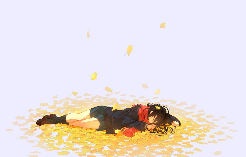 Photo wallpaper autumn, leaves, girl, anime, scarf, art, nora, kukumaka23