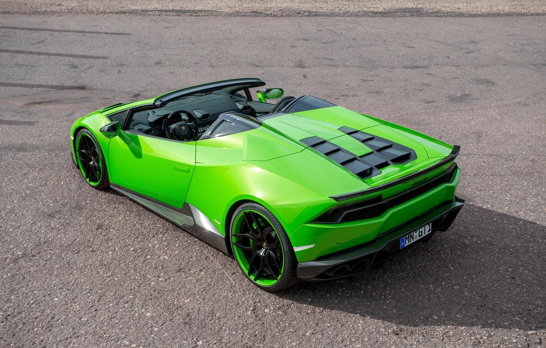 Photo wallpaper auto, green, Lamborghini, supercar, Spyder, back, exhausts, Novitec, Torado, Huracan