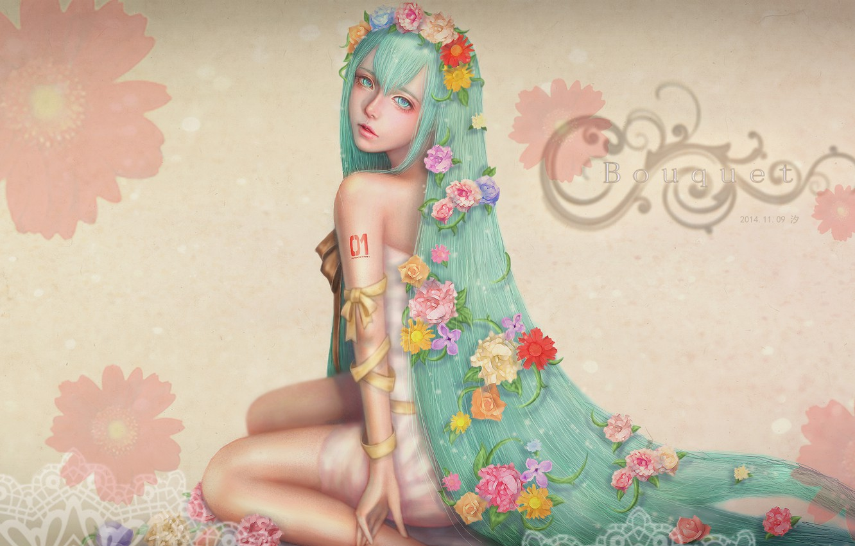 Photo wallpaper flowers, roses, chamomile, dress, sitting, Hatsune Miku, Vocaloid, Flower Crown, Semi-realism, Hatsune, Vocaloid. Miku, Realistic