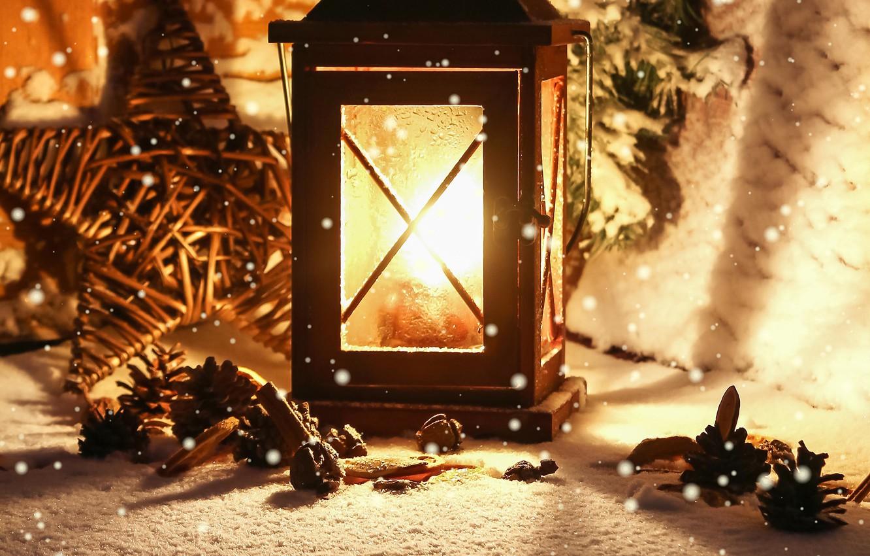 Photo wallpaper winter, light, snow, candle, flashlight, lantern, bumps