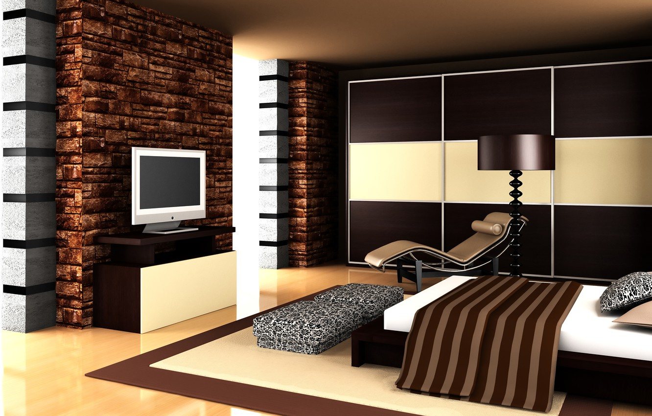 Photo wallpaper house, room, bed