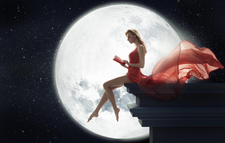 Photo wallpaper girl, night, the moon, dress, blonde, book, legs, sitting, reads