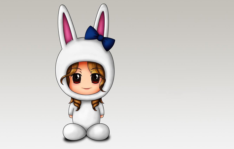Photo wallpaper holiday, minimalism, anime, costume, girl, Bunny, bow, baby, ears, children's, for children, black