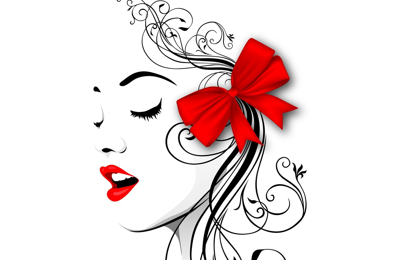 Photo wallpaper face, style, vector, profile, bow, red lips