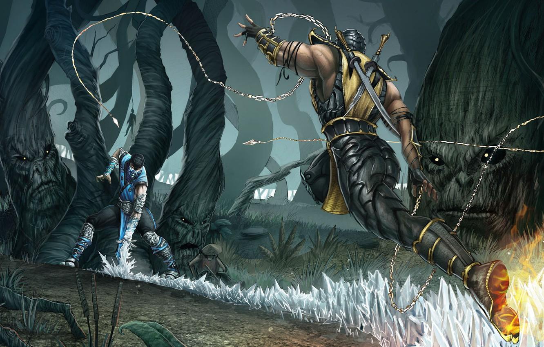 Photo wallpaper forest, fight, scorpion, mortal kombat, sub zero