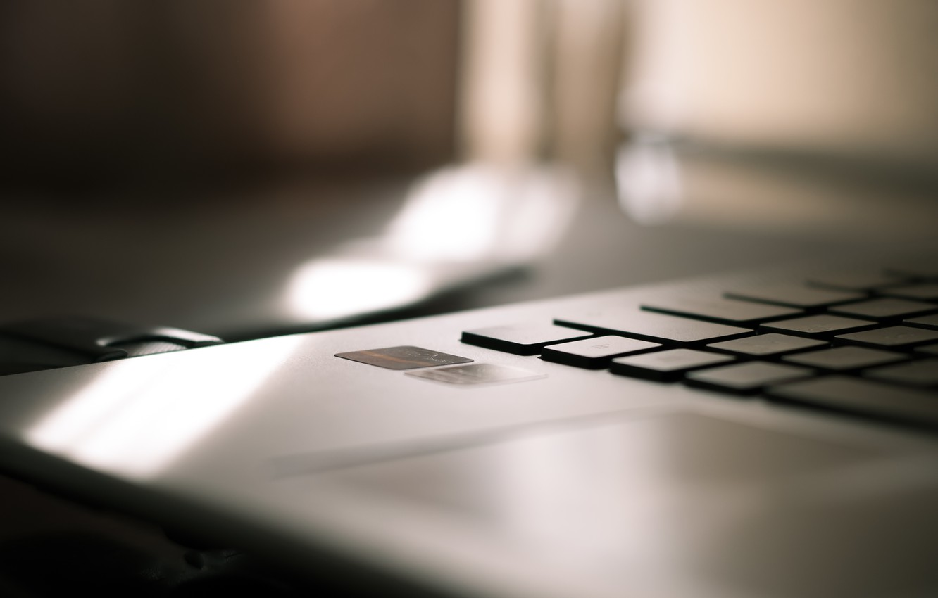 Photo wallpaper computer, color, the sun, light, table, mood, Wallpaper, shadow, minimalism, morning, keys, laptop, picture, sticker, …