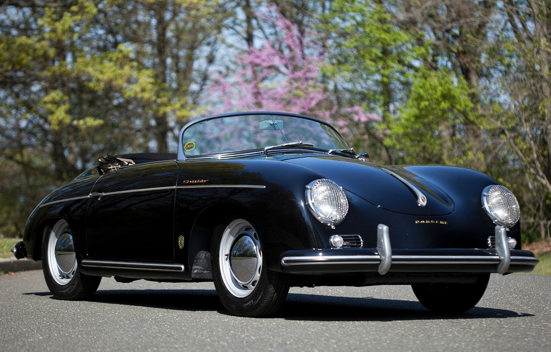Photo wallpaper background, black, Porsche, Roadster, Porsche, classic, the front, 1955, Pre-A, Speedster, by Reutter, 356