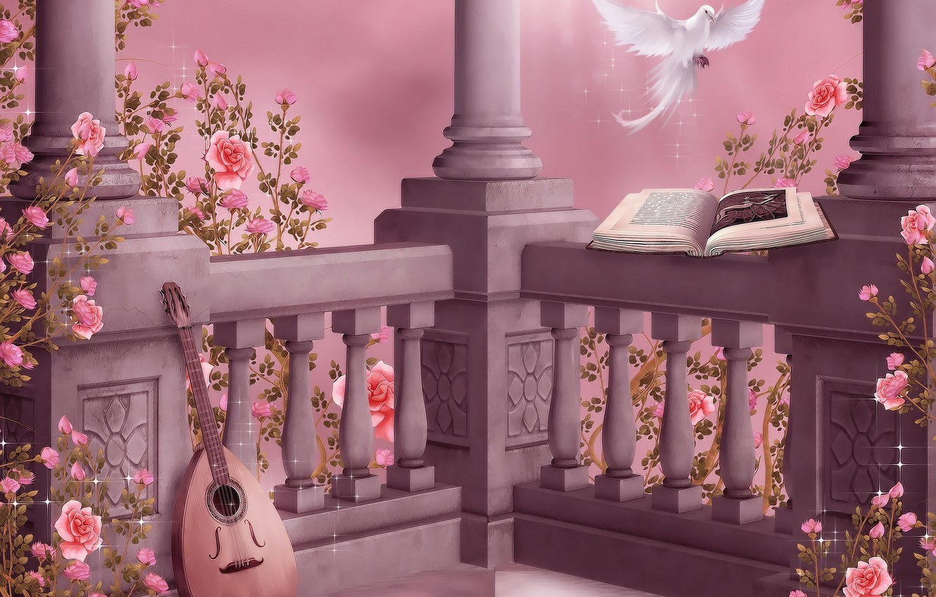 Photo wallpaper flowers, music, dove, roses, music, columns, book, garland, flowers, book, dove, roses, pigeon, lute, columns, …