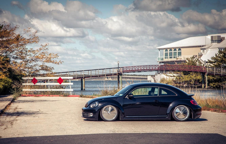 Photo wallpaper beetle, Volkswagen, black, Volkswagen, Beetle, stance