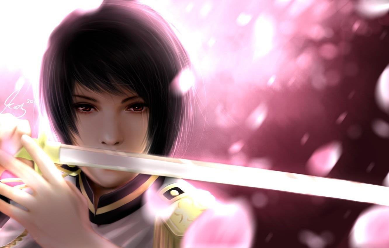 Photo wallpaper sword, katana, art, guy, japan, uniform, hetalia