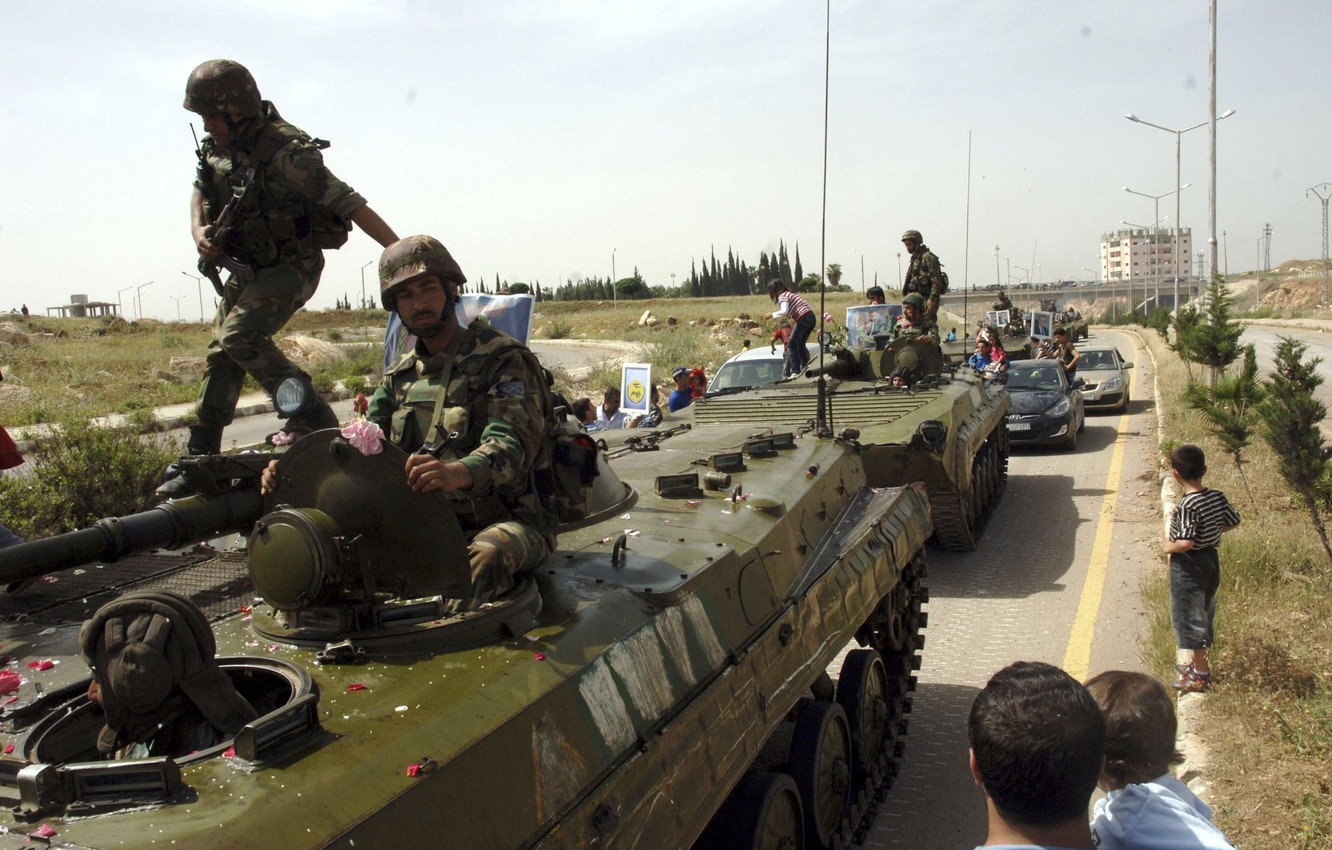 Photo wallpaper war, soldiers, fighters, BMP, Syria