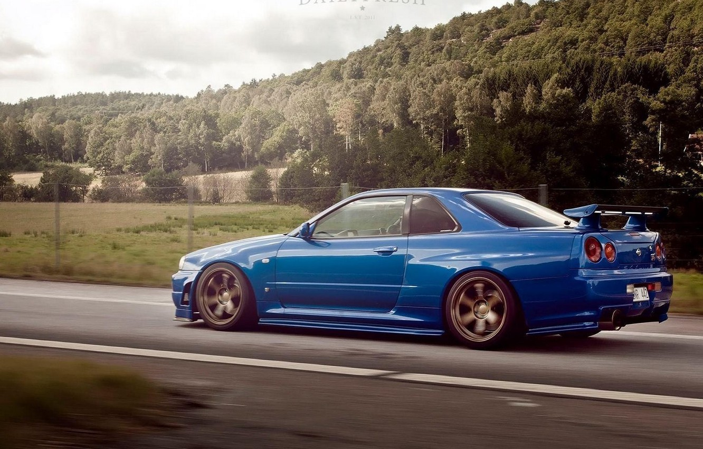 Photo wallpaper Auto, Road, Blue, Trees, Forest, Machine, Nissan, GTR, Nissan, Blue, Skyline, R34, Skyline