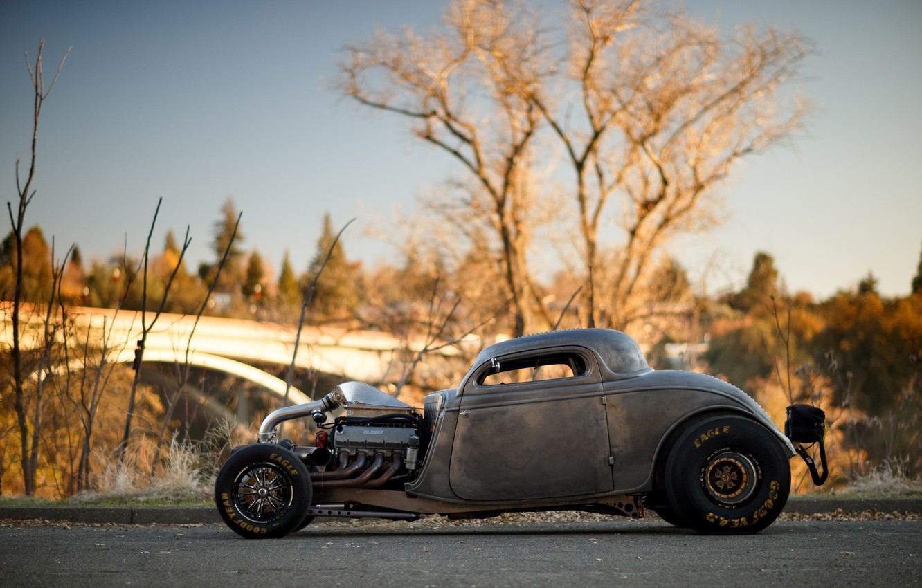 Photo wallpaper Ford, Hot Rod, Coupe, Twin Turbo, 1934, Drag Car, Big Block, Side view