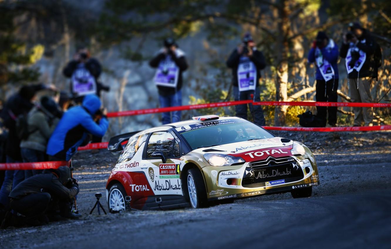 Photo wallpaper Sport, Machine, People, Turn, Citroen, Citroen, DS3, WRC, Rally, Rally