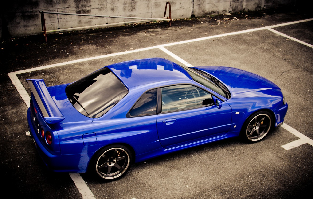 Photo wallpaper blue, Nissan, skyline, Nissan, blue, gt-r, r34, р34