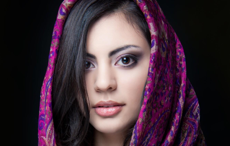 Photo wallpaper look, girl, face, background, black, hair, lips, beautiful, shawl, brown eyes, Indian