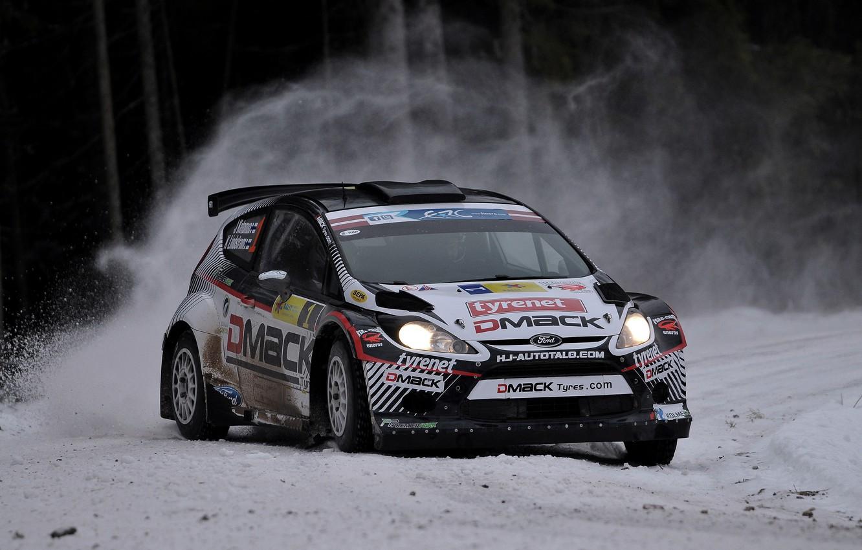 Photo wallpaper Ford, Winter, Snow, Turn, Skid, Car, WRC, Rally, Fiesta