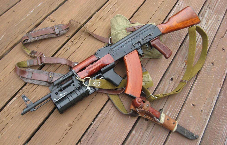 Photo wallpaper Board, AK-47, straps, cool, Kalashnikov, bayonet, made in Russia, grenade launcher