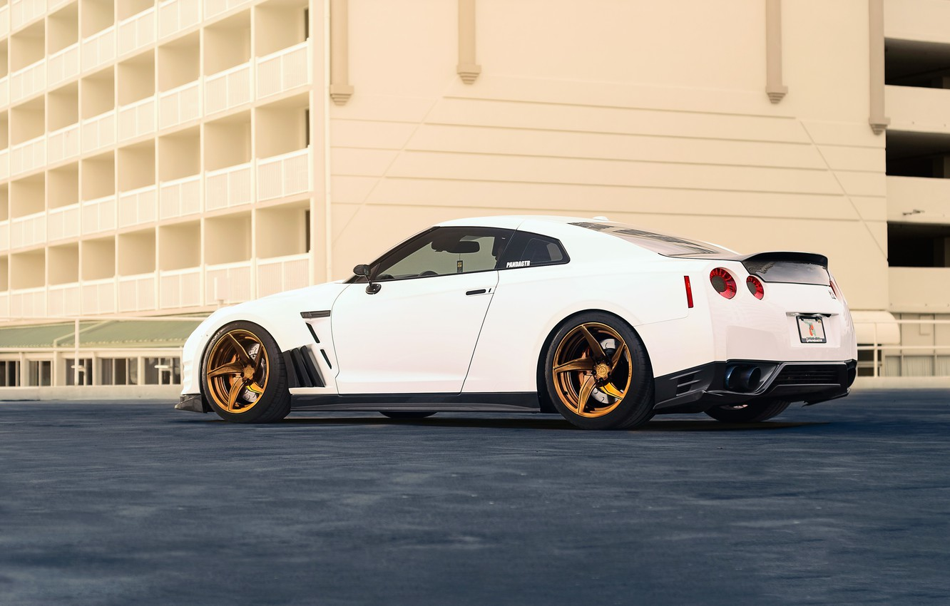 Photo wallpaper Nissan, GT-R, Car, Power, White, R35, Sport, Rear, Ligth