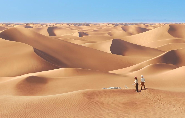 Photo wallpaper sand, people, desert, cartoon, bones, lost, tintin the movie