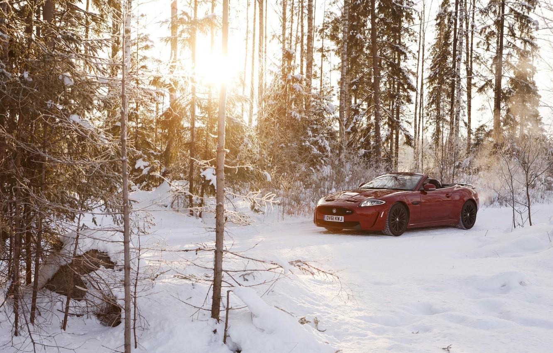 Photo wallpaper winter, forest, the sun, snow, red, Jaguar, Jaguar, convertible, Convertible, XKR-S