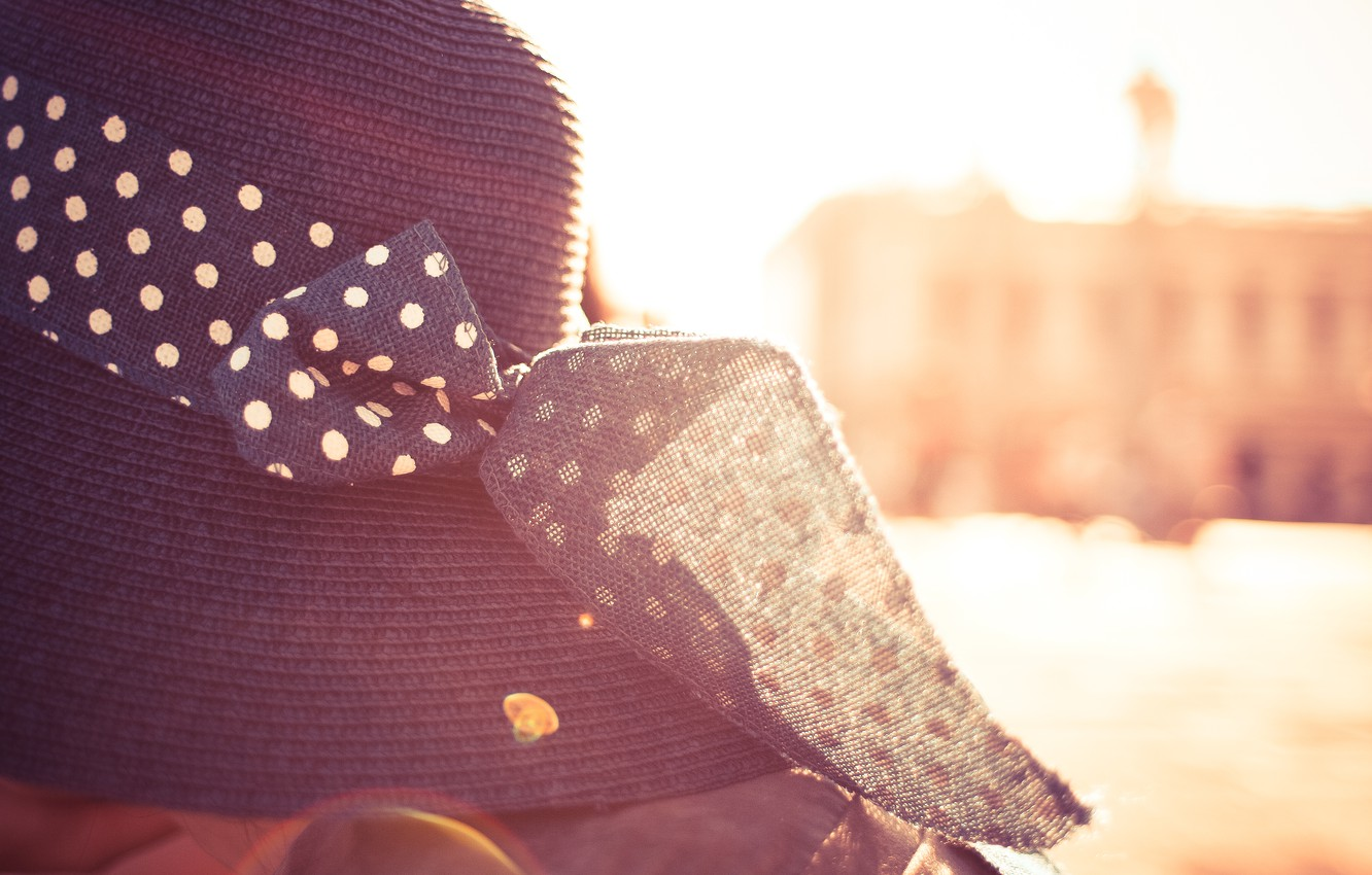 Photo wallpaper the sun, hat, bow