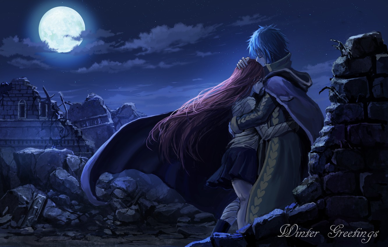 Photo wallpaper the sky, girl, clouds, night, the moon, anime, tears, art, hugs, ruins, guy, two, fairy ...