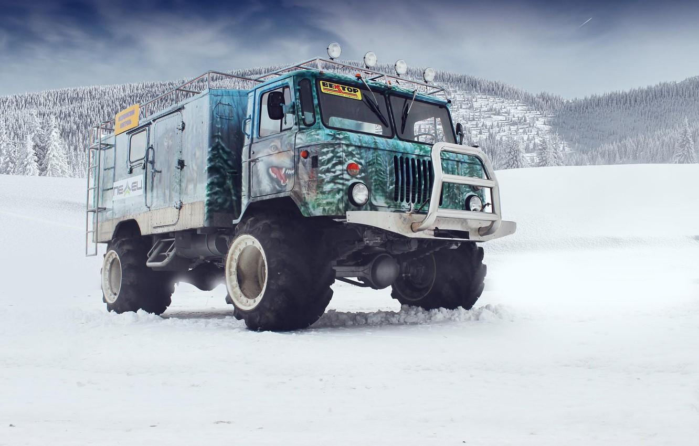 Photo wallpaper snow, mountains, airbrushing, off road, tuning, kengurâtnik, GAZ 66, Gaz 66