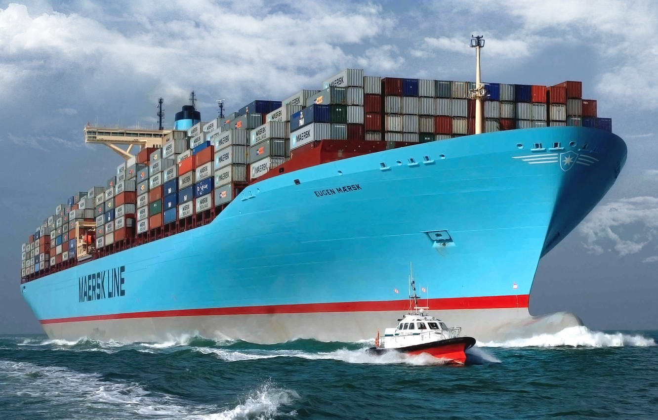 Photo wallpaper Water, Sea, Board, Case, The ship, A container ship, Tank, The pilot, Pilot boat, On …