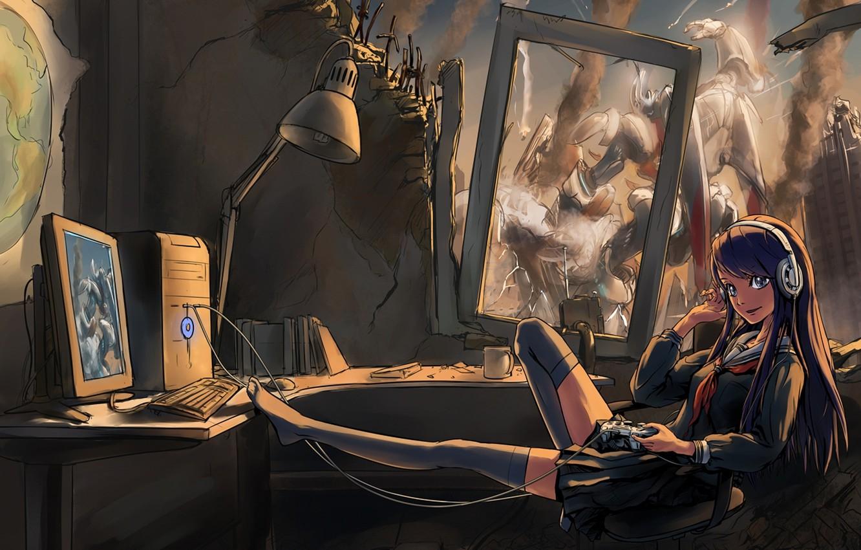 Photo wallpaper computer, girl, headphones, art, joystick, form, ruins, fur