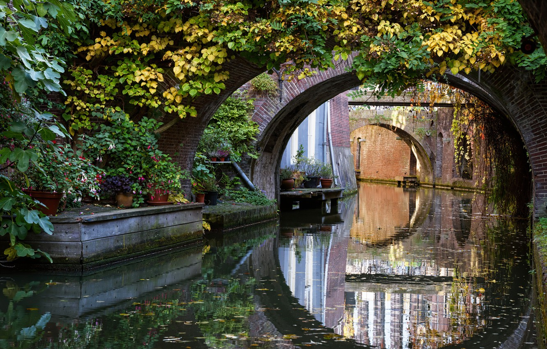 Photo wallpaper autumn, trees, bridge, channel, Netherlands, autumn, Netherlands, Bridges, Utrecht