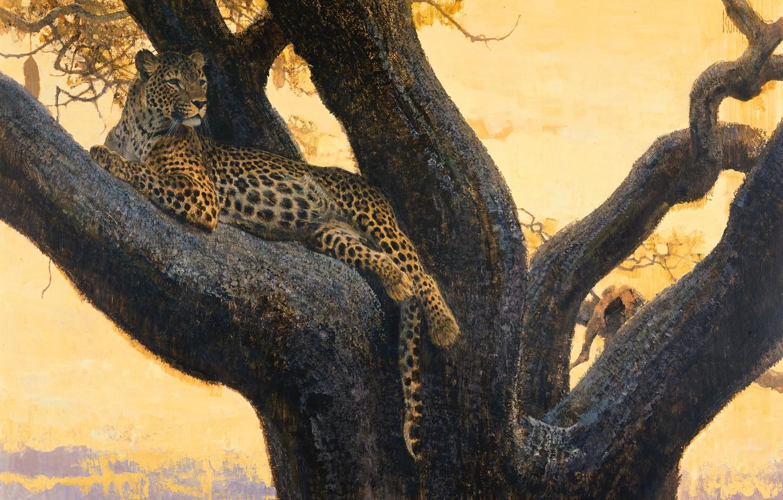Photo wallpaper cat, tree, stay, predator, picture, branch, art, spot, leopard, wild, Bob Kuhn
