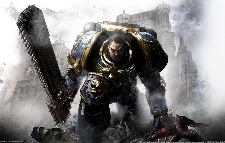 Photo wallpaper Space Marine, chainsaw, space Marines, Captain Titus, Warhammer 40,000