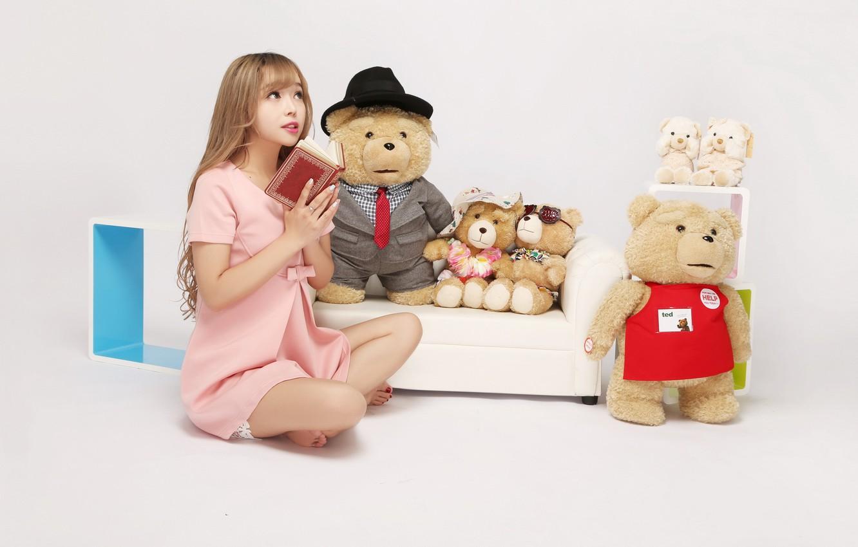 Photo wallpaper girl, toys, bear, book