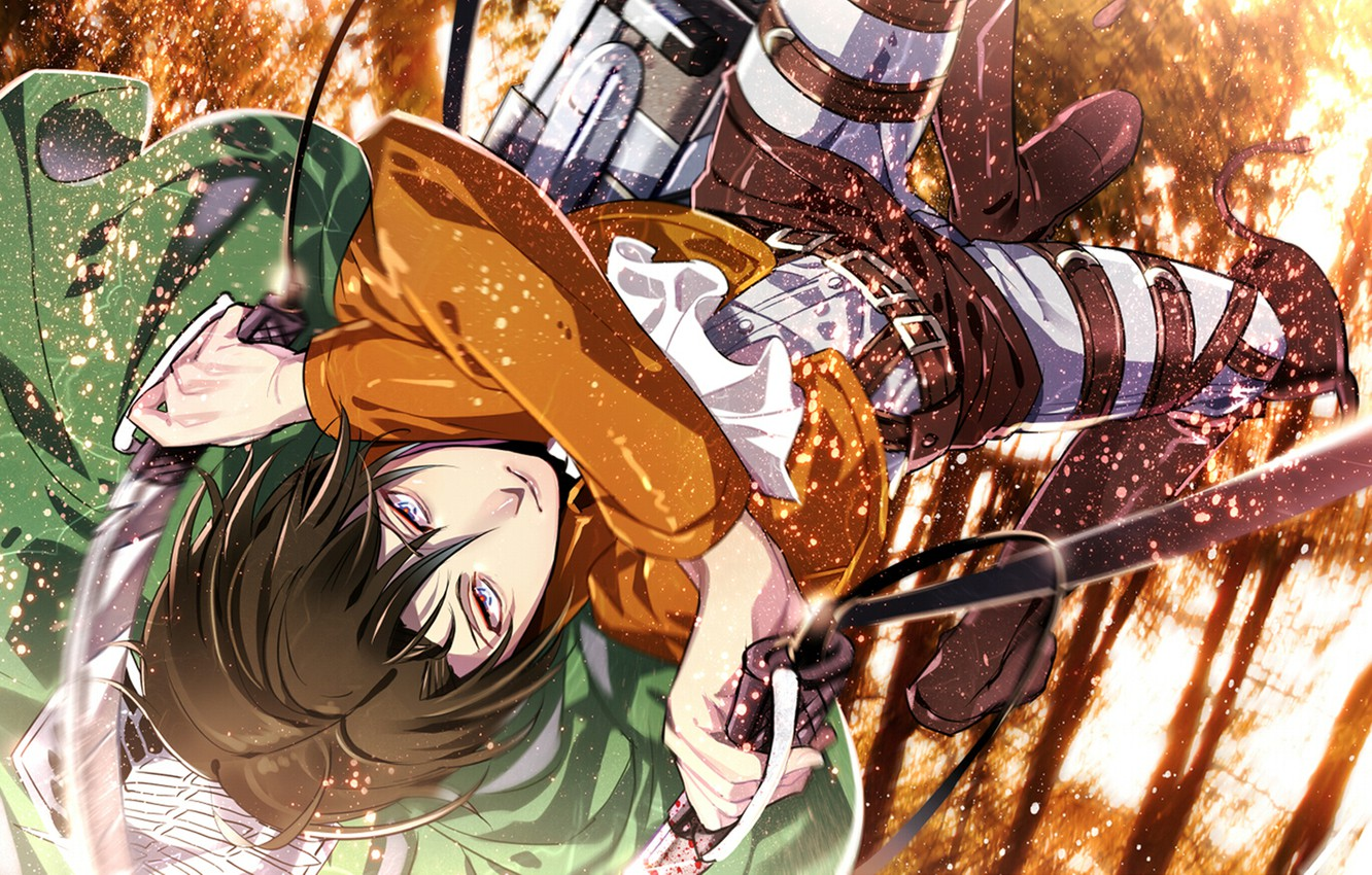 Photo wallpaper forest, jump, sparks, guy, Attack on Titan, Shingeki no Kyojin, Rivaille, Levi