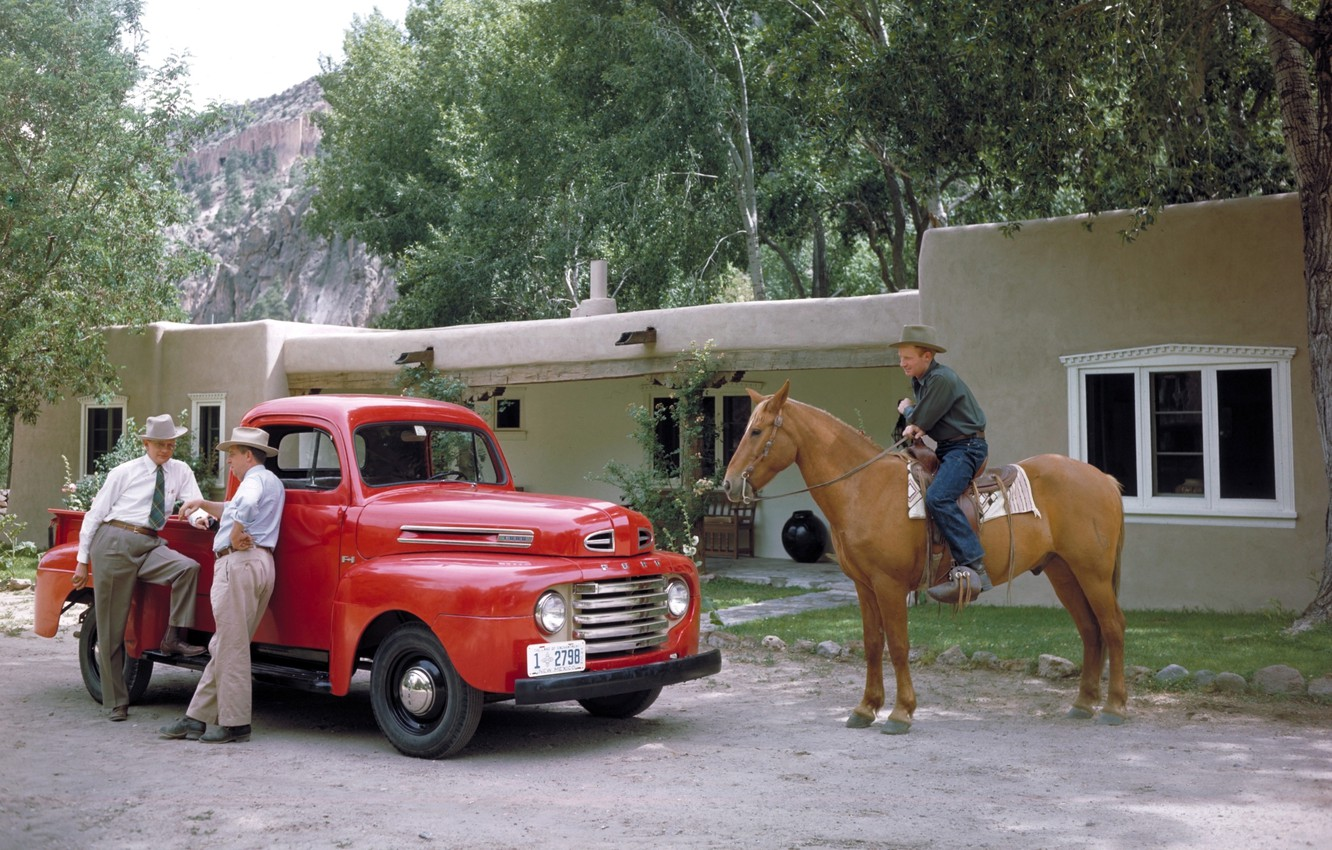 Photo wallpaper trees, red, house, retro, horse, Ford, Ford, cowboy, pickup, men, F-1, 1948, Pickup