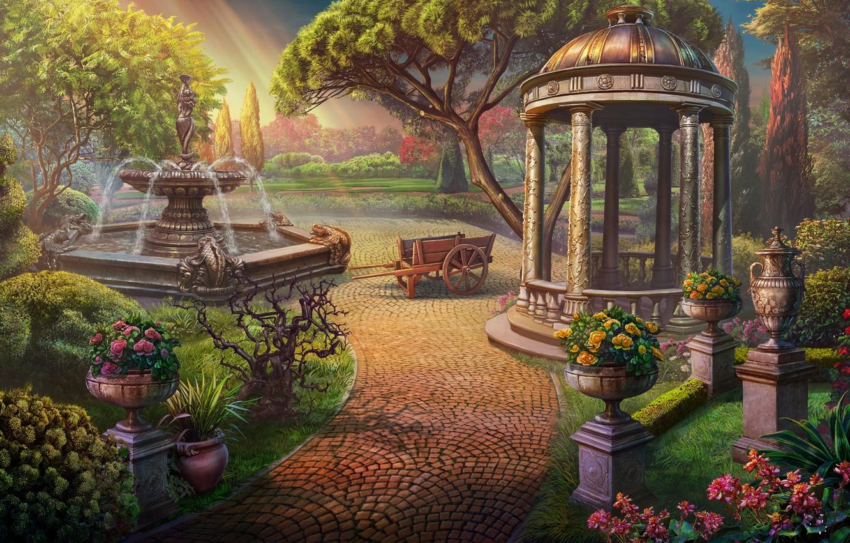 Photo wallpaper light, flowers, Garden, fountain, gazebo