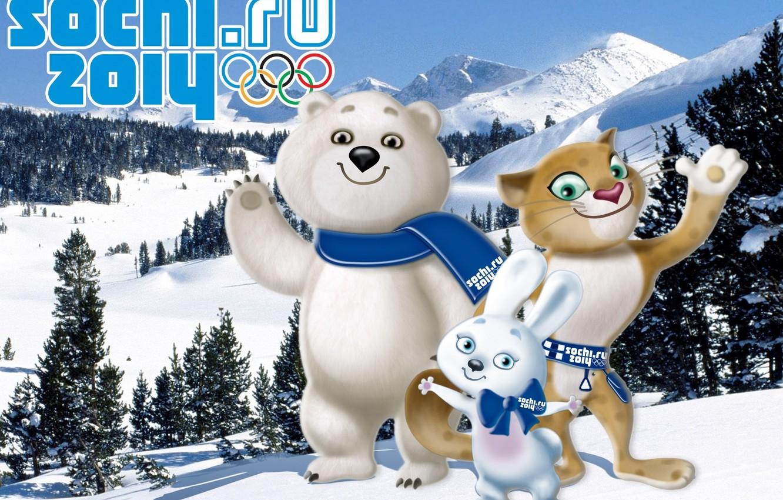 Photo wallpaper Olympics, Sochi 2014, Sochi 2014, winter Olympic games, mascots