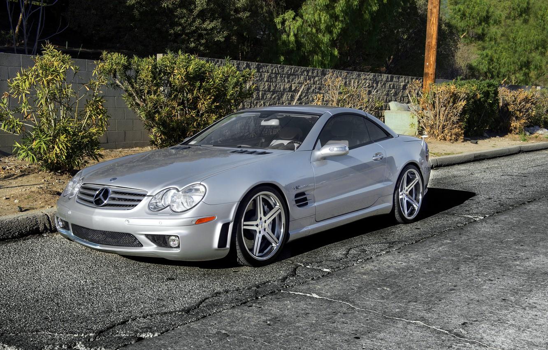 Photo wallpaper silver, silver, Mercedes, wheels, Mercedes, SL65, Benz, frontside, metellik