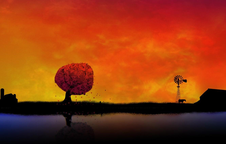 Photo wallpaper sunset, orange, background, Wallpaper, village