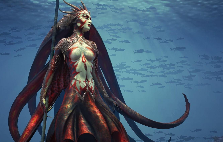 Photo wallpaper sea, water, octopus, monster