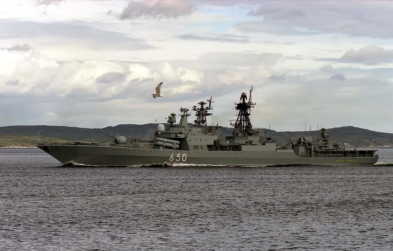 Photo wallpaper sea, ship, Seagull, large, Navy, anti-submarine, the sky., Admiral Chabanenko