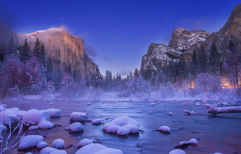 Photo wallpaper USA, Christmas Valley View, Yosemite Nation Park
