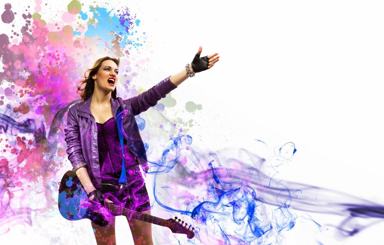 Photo wallpaper girl, music, smoke, guitar, music, girl, guitar, rock, rock, smoke