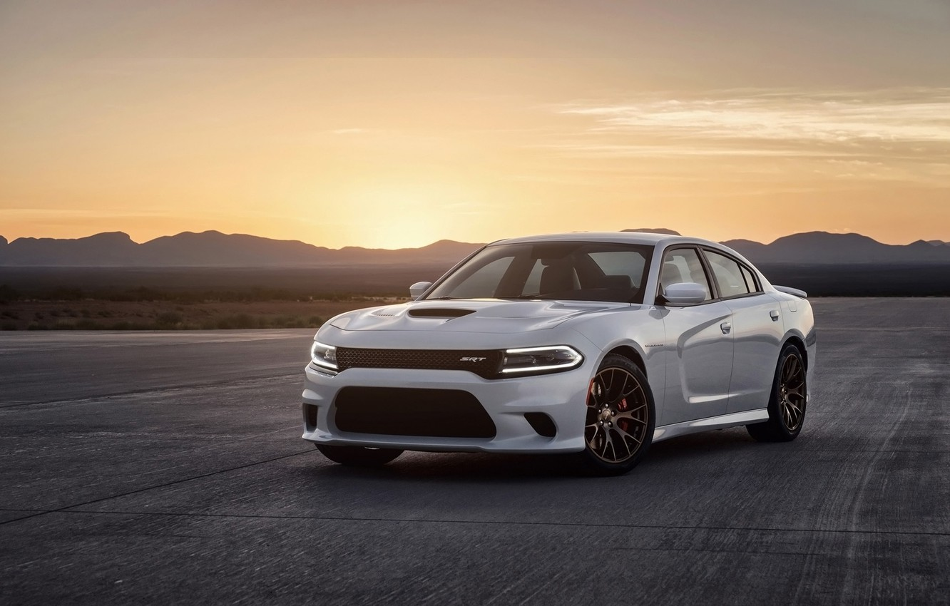 Photo wallpaper mountains, background, Dodge, Dodge, Charger, the front, Hellcat, SRT, The charger