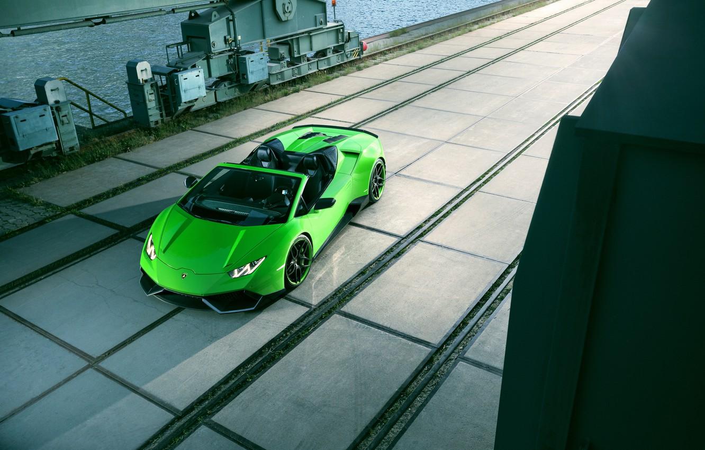 Photo wallpaper green, green, Lamborghini, supercar, supercar, car, Spyder, Lamborghini, Novitec, Torado, Huracan